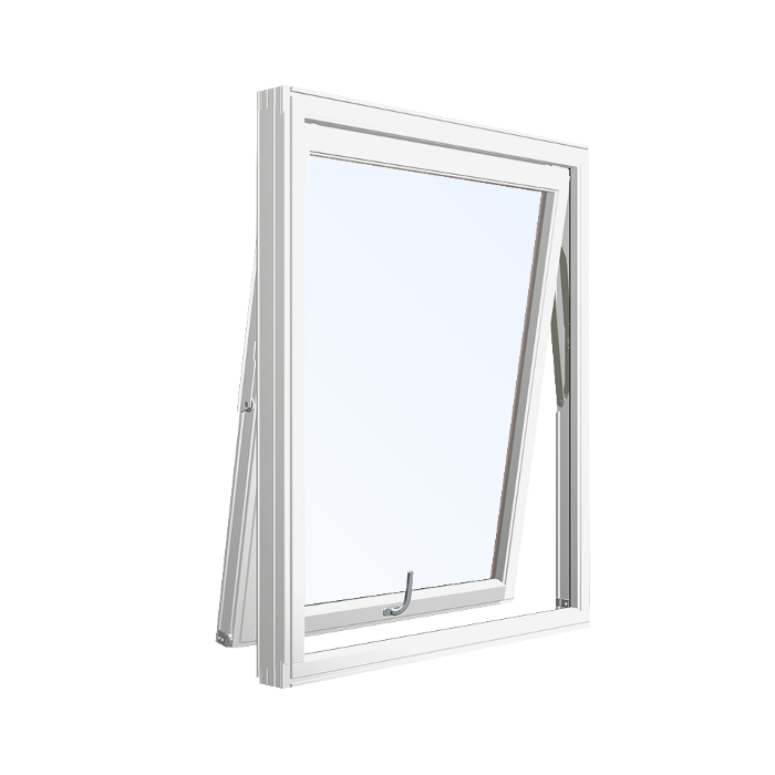 vinduer sidehengslet med faste sprosser